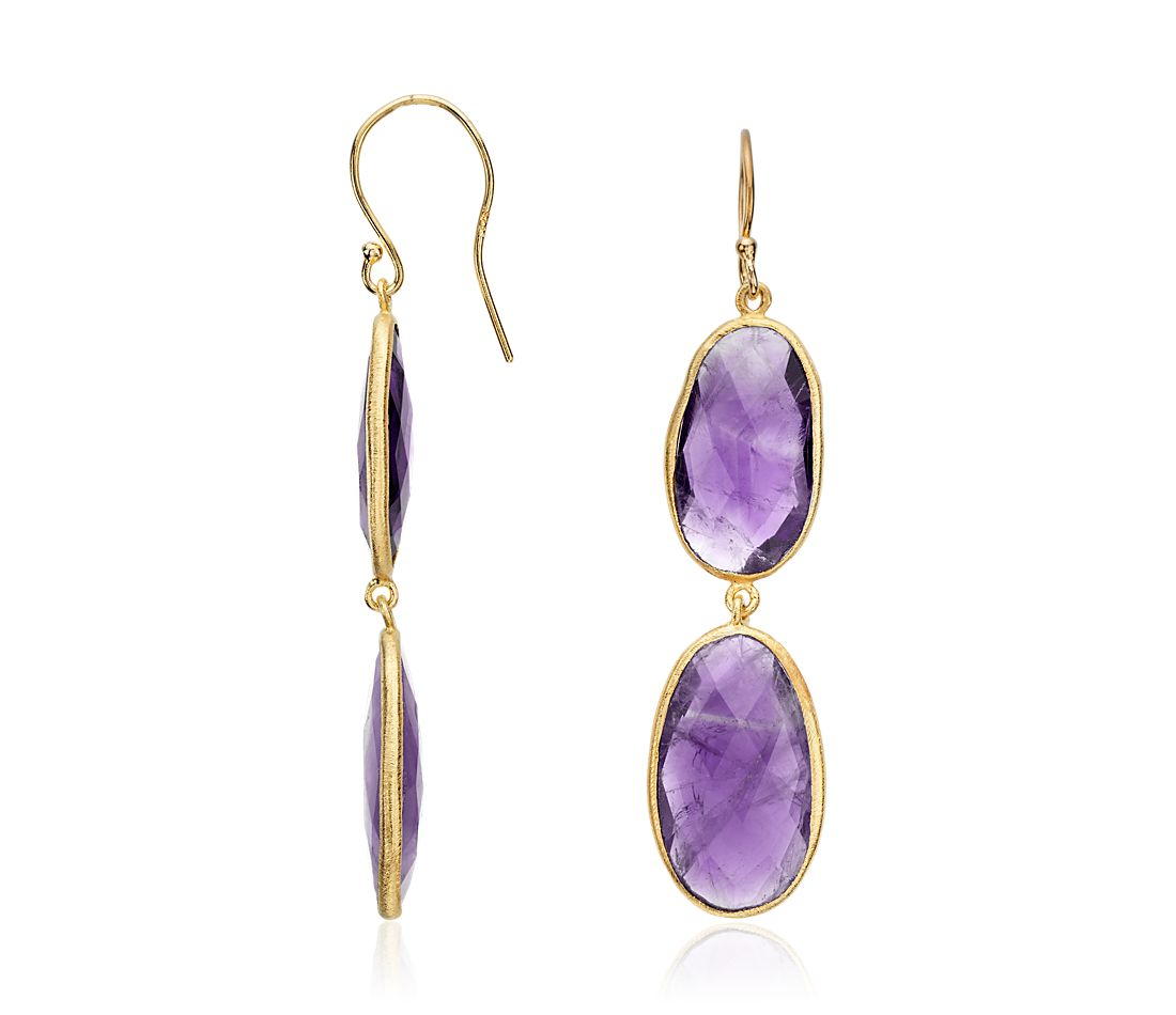 Oval Amethyst Duet Dangle Earrings in Gold Vermeil