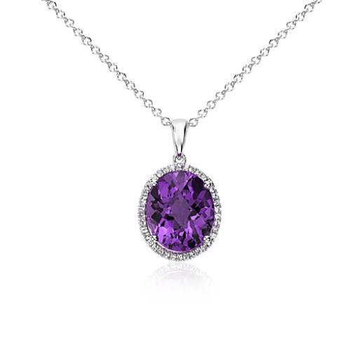 Amethyst and White Sapphire Halo Oval Pendant in Sterling Silver (12x10mm)
