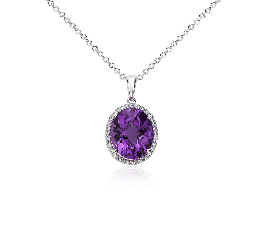Amethyst and White Sapphire Halo Oval Pendant in Sterling Silver