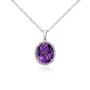 NEW Amethyst and White Sapphire Halo Oval Pendant in Sterling Silver (12x10mm)