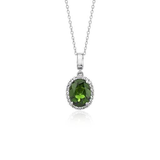 Oval Chrome Diopside and White Topaz Oval Halo Pendant in Sterling Silver (9x7mm)