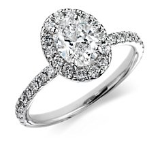 Oval Micropavé Halo Diamond Ring in 18k White Gold (1.68 ct. tw.)
