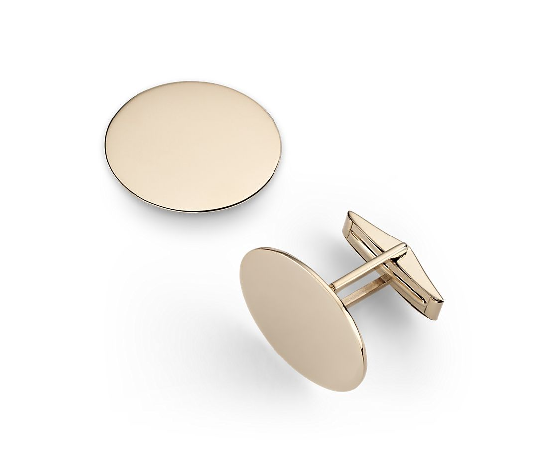 Oval Cuff Links in 14k Yellow Gold