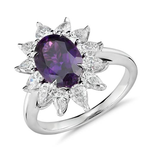 Purple Sapphire with Diamond Petals Ring in Platinum (2.60 ct. center)
