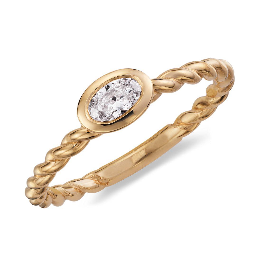 Bague torsadée diamant ovale en or jaune 14carats (1/4carat, poids total)