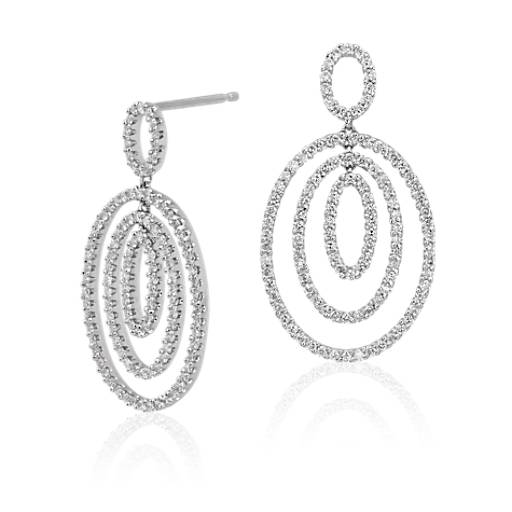 Diamond Three Oval Drop Earrings in 14k White Gold
