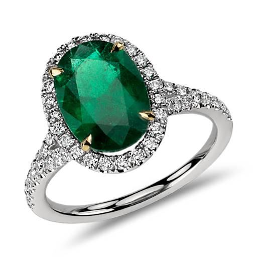 Oval Emerald and Micropavé Diamond Ring in 18k White Gold (3.01 ct. center)