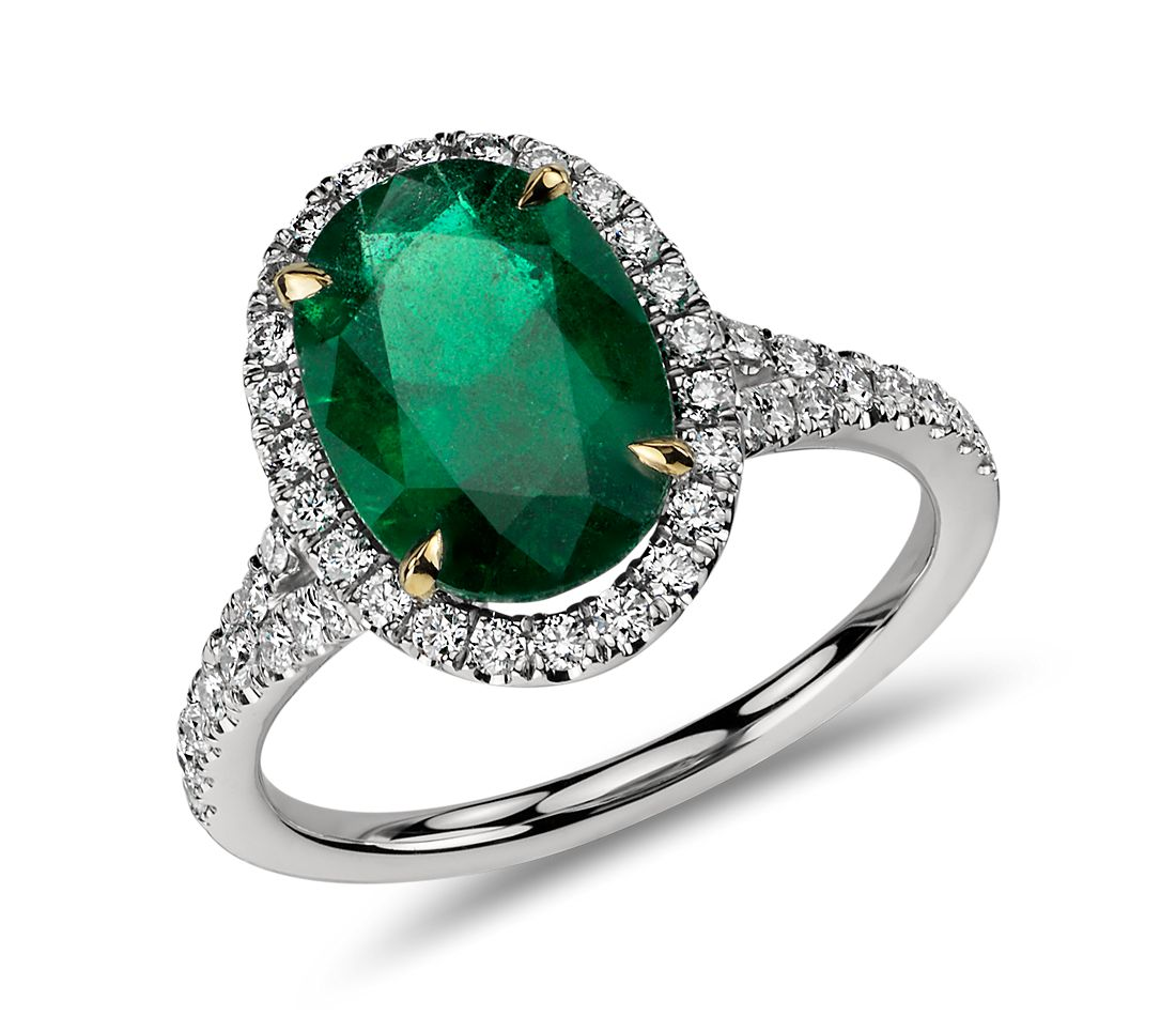 Oval Emerald and Micropavé Diamond Ring in 18k White Gold