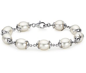 Oval Freshwater Cultured Pearl Bracelet with Sterling Silver
