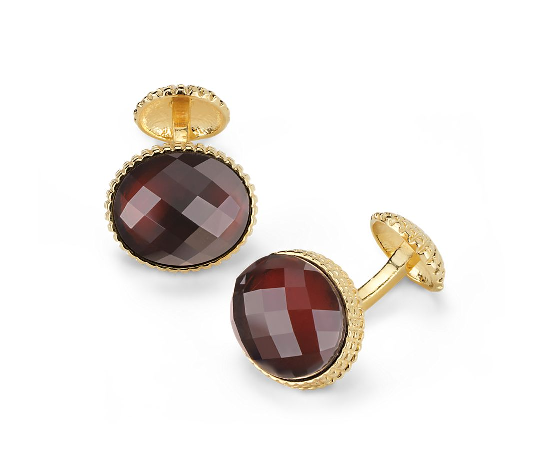 Oval Garnet Cuff Links in Yellow Gold Vermeil