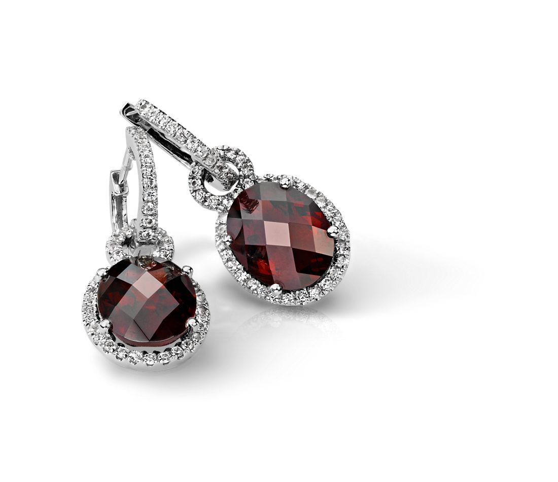 Garnet and White Sapphire Halo Oval Drop Earrings in Sterling Silver