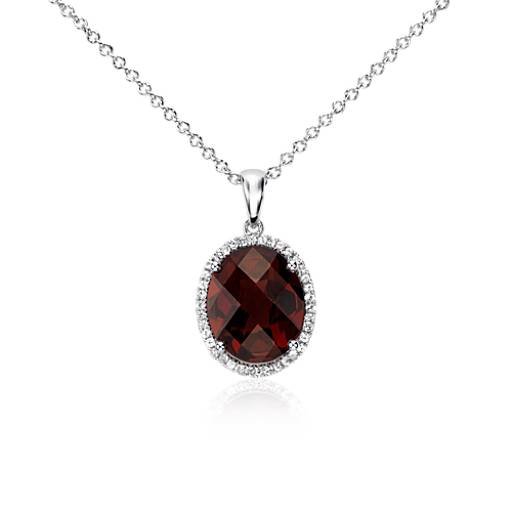 Garnet and White Sapphire Halo Oval Pendant in Sterling Silver