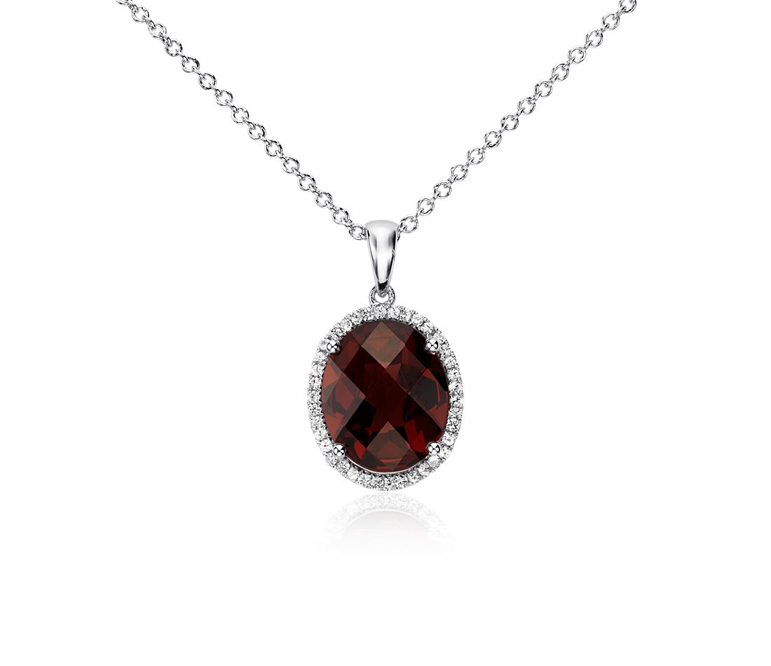 Garnet and White Sapphire Halo Oval Pendant in Sterling Silver (12x10mm)