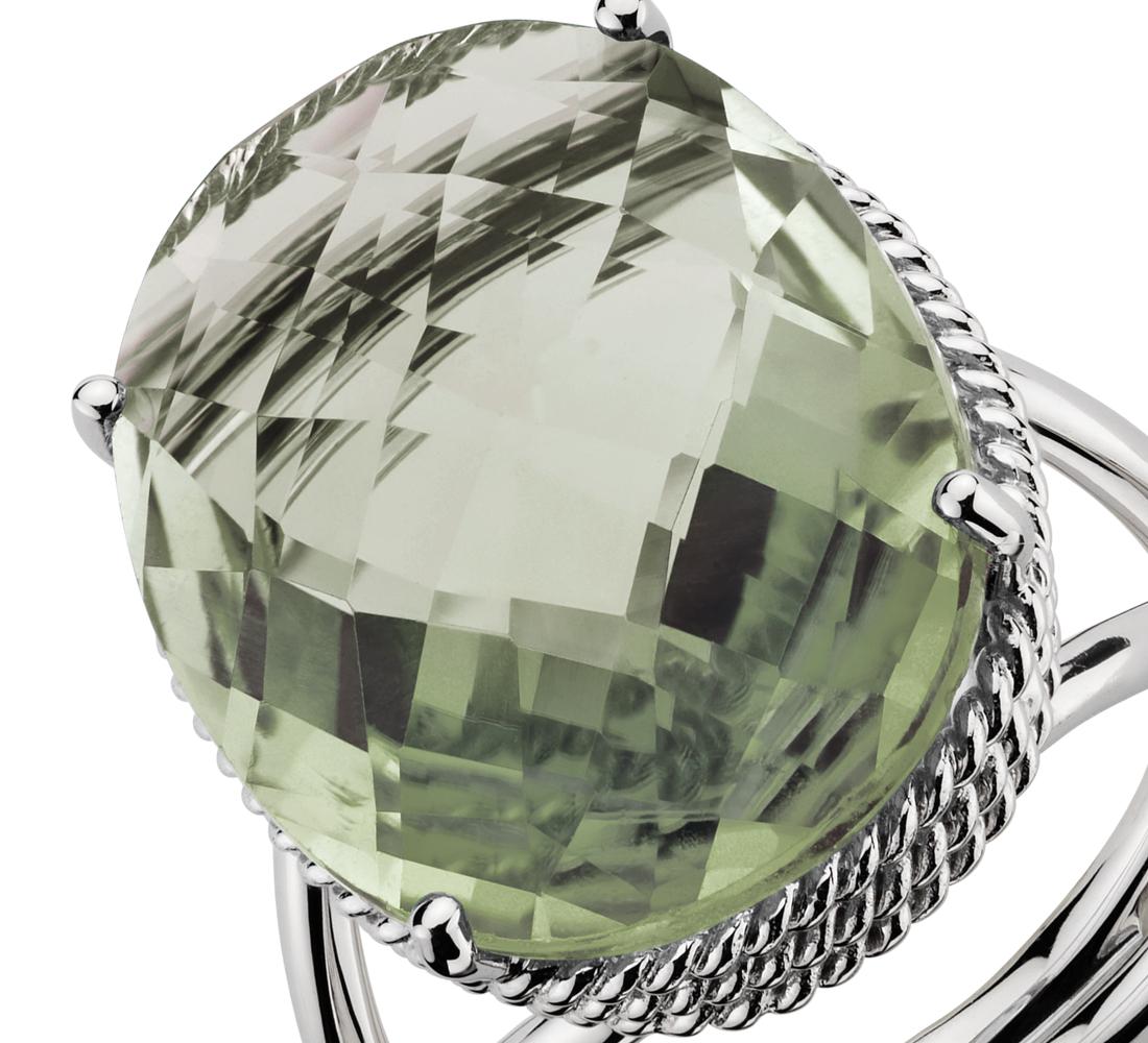 Bague quartz vert ovale en or blanc 14carats
