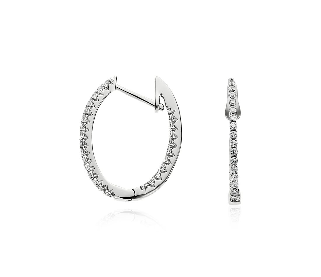 Oval Diamond Hoop Earrings in 14k White Gold (1/3 ct. tw.)