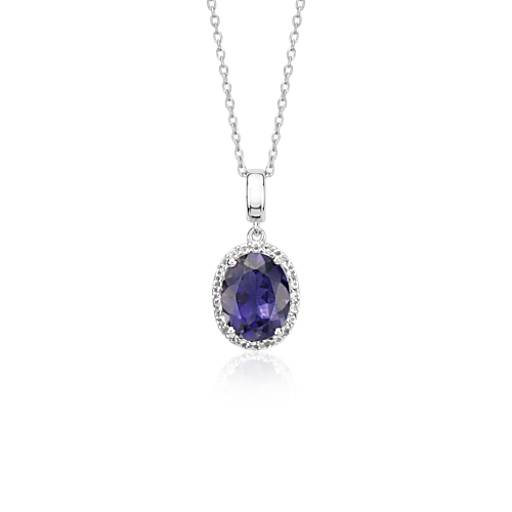 Oval Iolite and White Topaz Halo Pendant in Sterling Silver