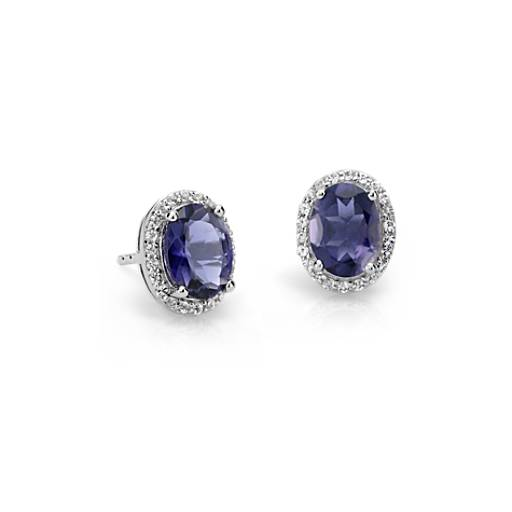 Oval Iolite and White Topaz Halo Stud Earrings in Sterling Silver