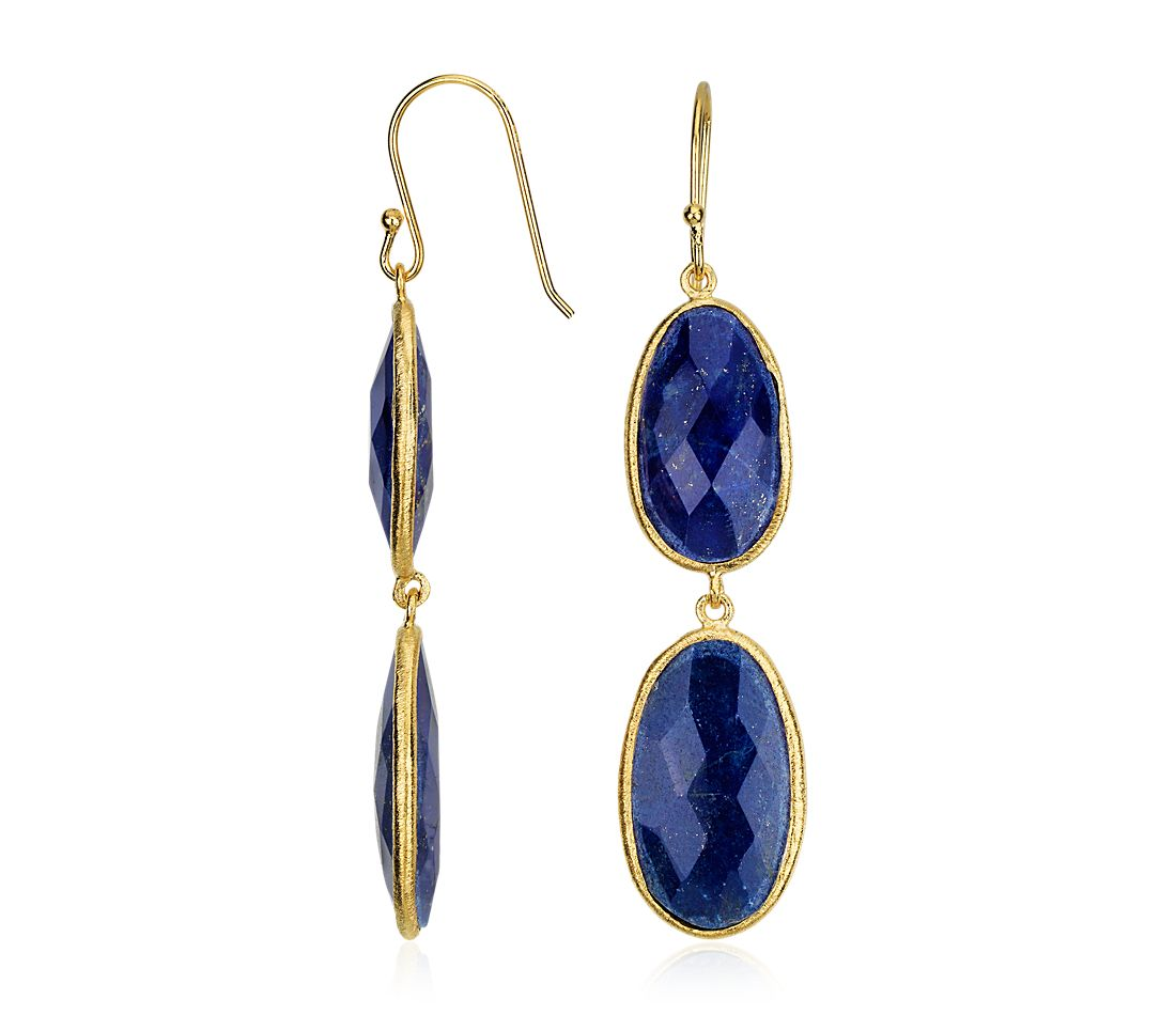Oval Lapis Duet Dangle Earrings in Gold Vermeil