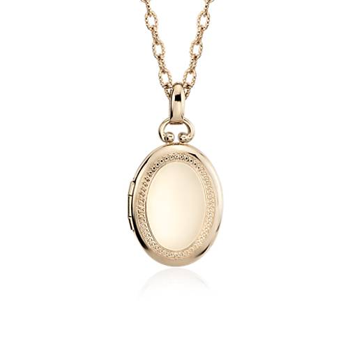 Oval Beaded Locket in 14k Yellow Gold