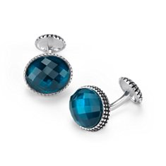 Oval London Blue Topaz Cuff Links in Antiqued Sterling Silver