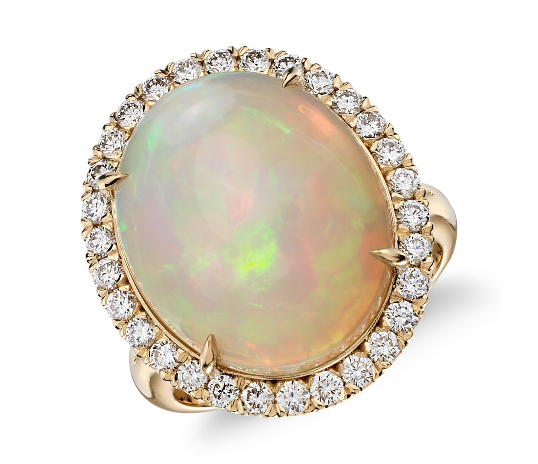 Opal and Diamond Halo Split Shank Ring in 18k Yellow Gold (8.20 ct center)