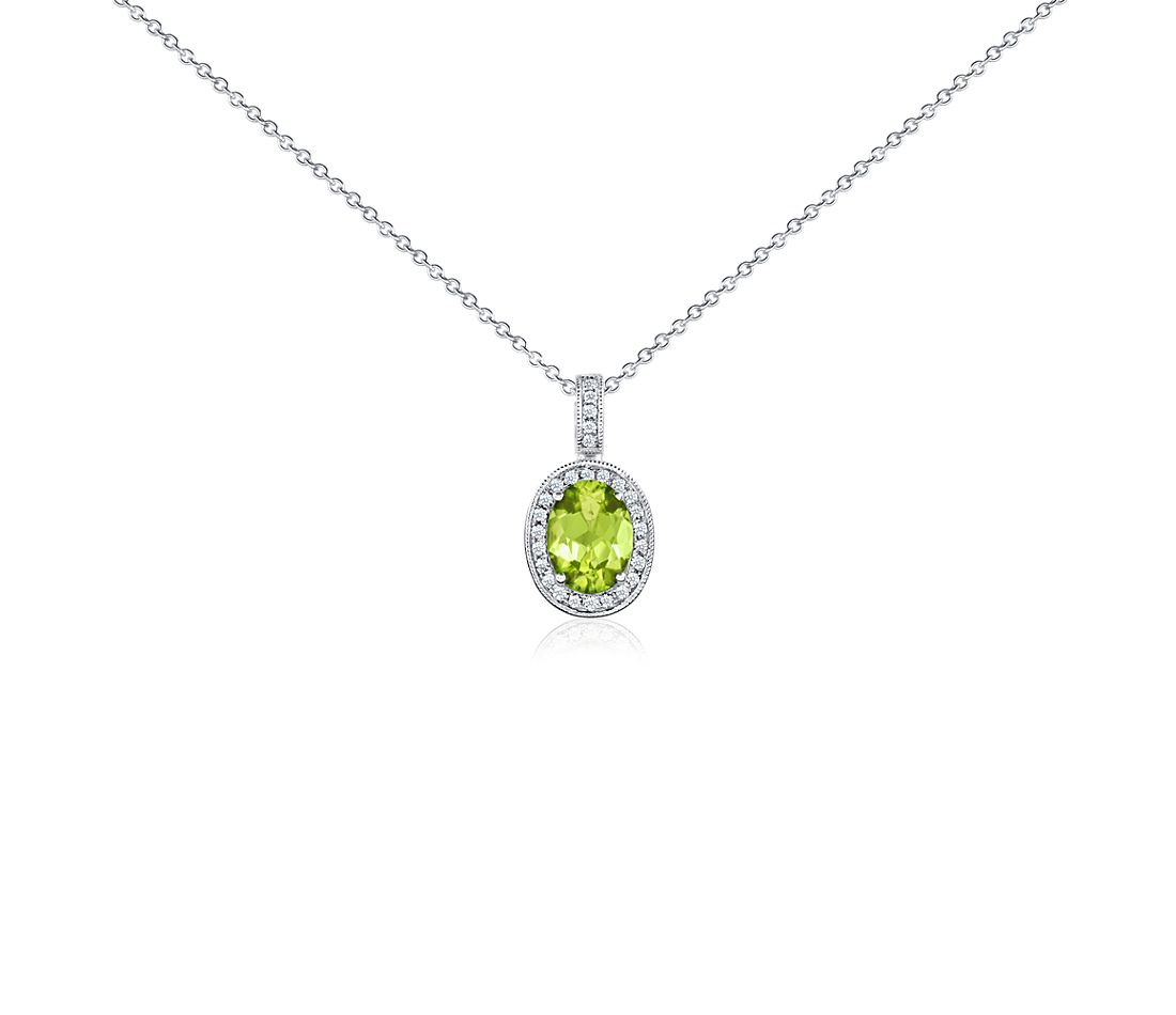 Oval Peridot and Diamond Pendant in 18k White Gold (8x6 mm)