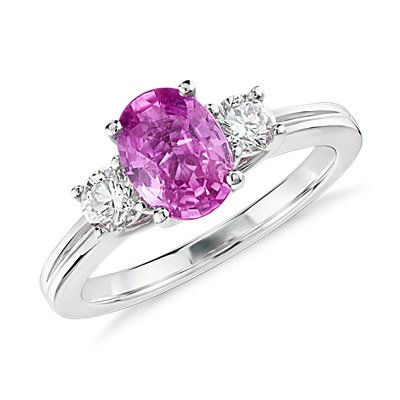 NEW Oval Pink Sapphire and Diamond Ring in 18k White Gold (8x6mm)