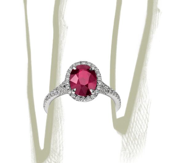 Oval Ruby and Diamond Ring in Platinum