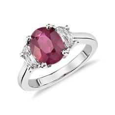 Oval Ruby and Half-Moon Diamond Three-Stone Ring in Platinum