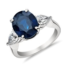 Oval Sapphire and Pear Shaped Diamond Ring in Platinum (5.05 ct.)