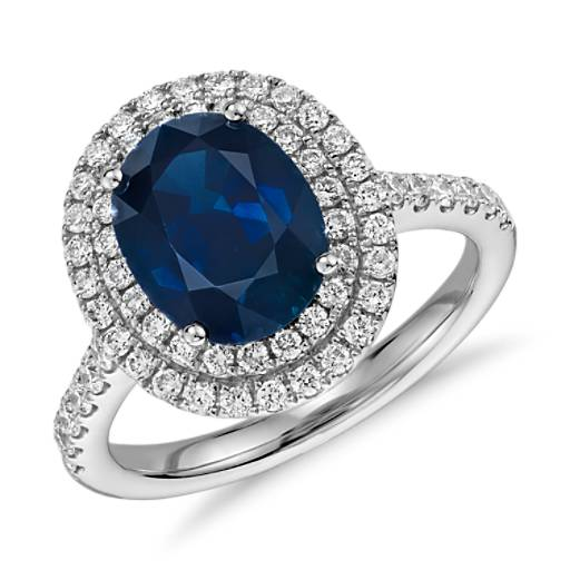 Oval Sapphire and Diamond Double Halo Micropavé Ring in 18k White Gold (9x7)