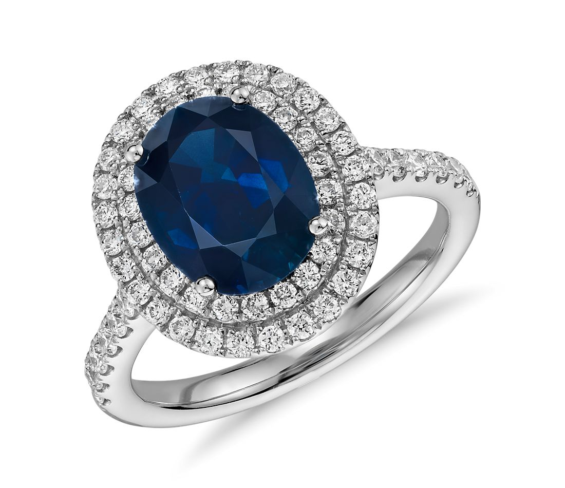Oval Sapphire and Diamond Double Halo Micropave Ring in 18k White Gold (9x7)