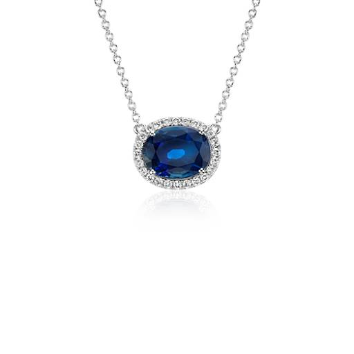 Oval Sapphire and Diamond Halo Floating Pendant in 18k White Gold (10x8mm)