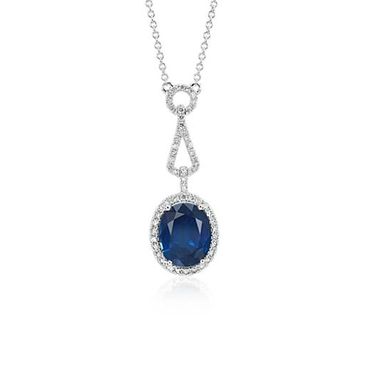 Oval Sapphire and Diamond Halo Loop Drop Pendant in 18k White Gold (3.79 ct. centre)