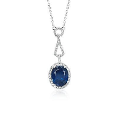Oval Sapphire and Diamond Halo Loop Drop Pendant in 18k White Gold (3.79 ct. center)