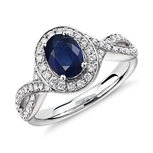 Oval Sapphire and Diamond Halo Twist Ring in 14k White Gold