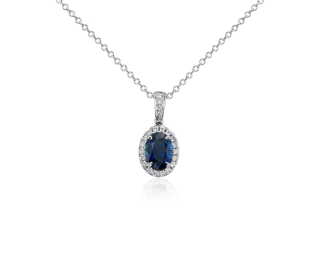 Oval Sapphire and Diamond Micropavé Pendant in 14k White Gold (7x5mm)