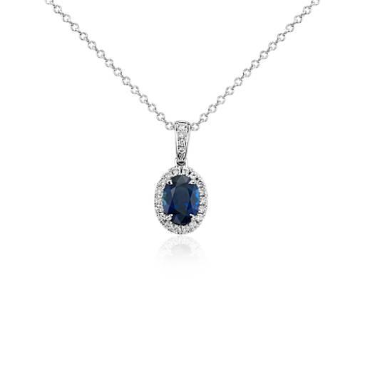 Pendentif diamant serti micro-pavé et saphir ovale en or blanc 14carats (7x5mm)