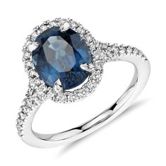 Oval Sapphire and Micropavé Diamond Halo Ring in Platinum (3.42 ct.)
