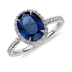 Bague diamants sertis micro-pavé et saphir bleu en Or blanc 18 ct (9x7mm)