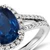 Oval Sapphire and Diamond Split Shank Ring in 18k White Gold (9x7)