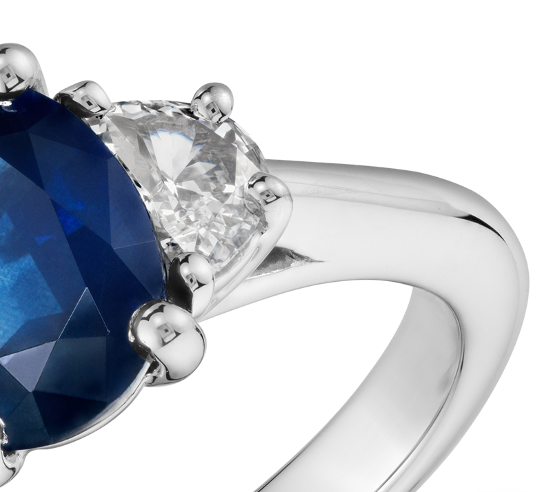 Sapphire and Half-Moon Shaped Diamond Ring in Platinum (9x7mm)