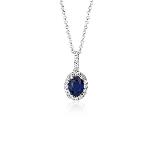 NEW Oval Sapphire Halo Pendant in 18k White Gold (7x5mm)