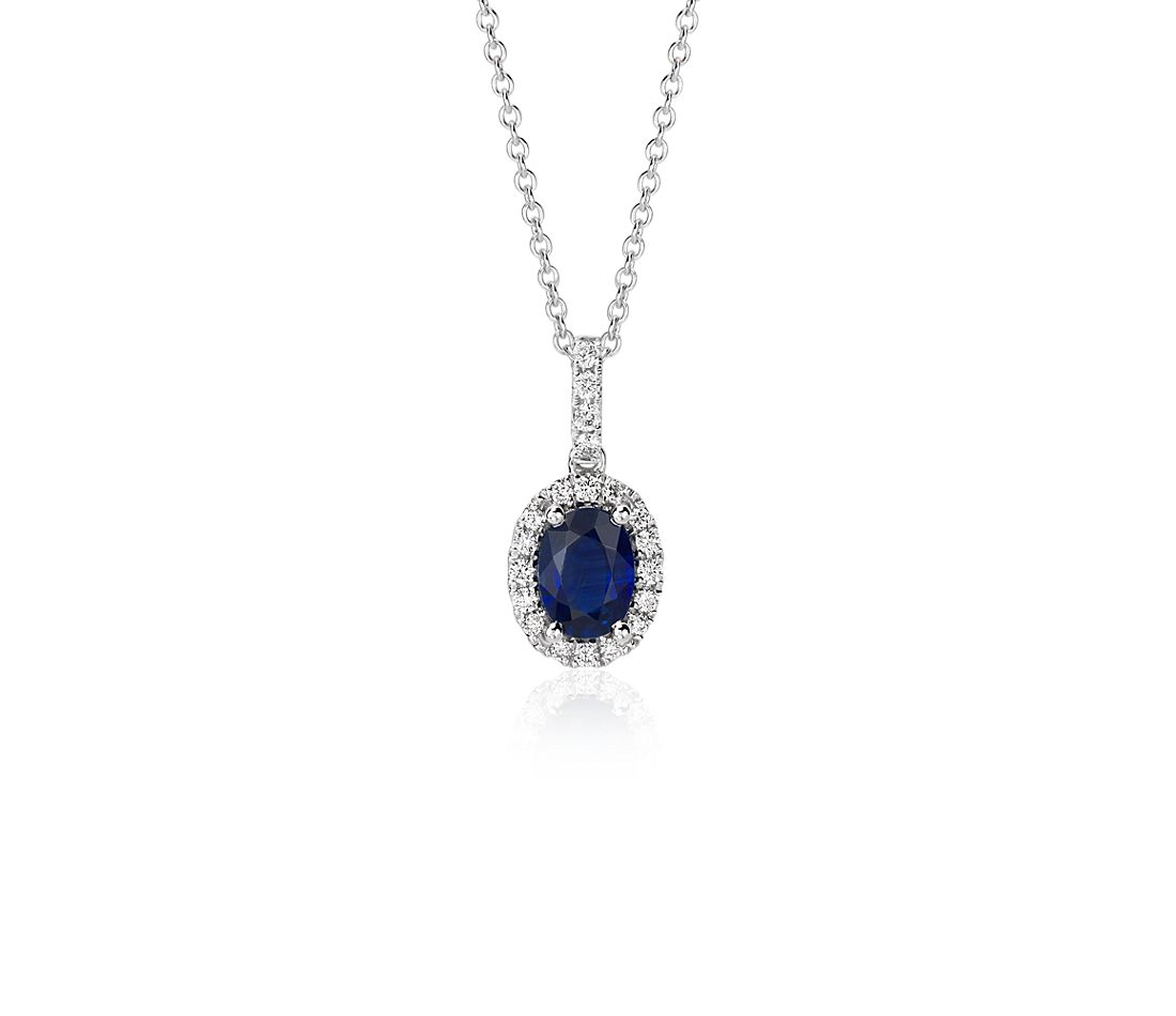 Oval Sapphire and Diamond Halo Pendant in 18k White Gold ...
