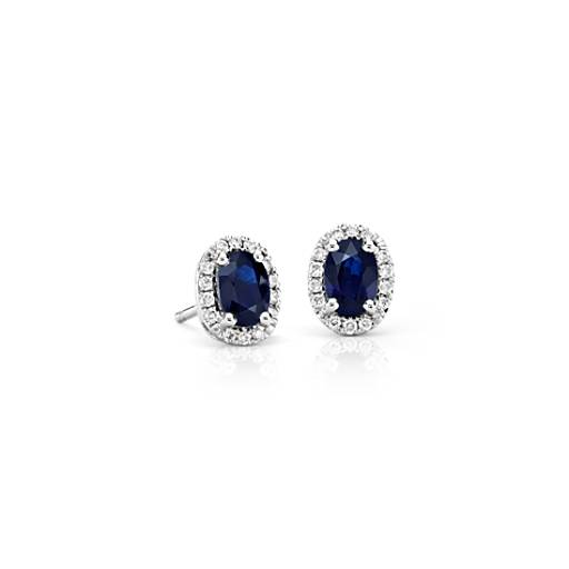 Oval Sapphire and Diamond Halo Stud Earrings in 18k White Gold (6x4mm)