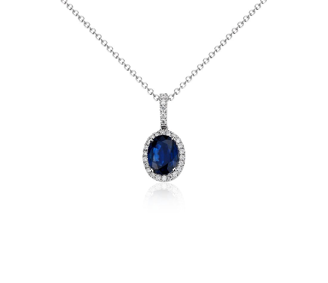 Oval Sapphire and Micropavé Diamond Pendant in 14k White Gold (8x6 mm)