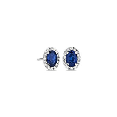 Oval Sapphire and Diamond Micropavé Stud Earrings in 14k White Gold (6x4mm)