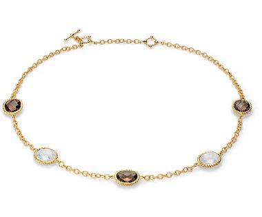Collar de ágata blanca y cuarzo ahumado en plata bañada en oro