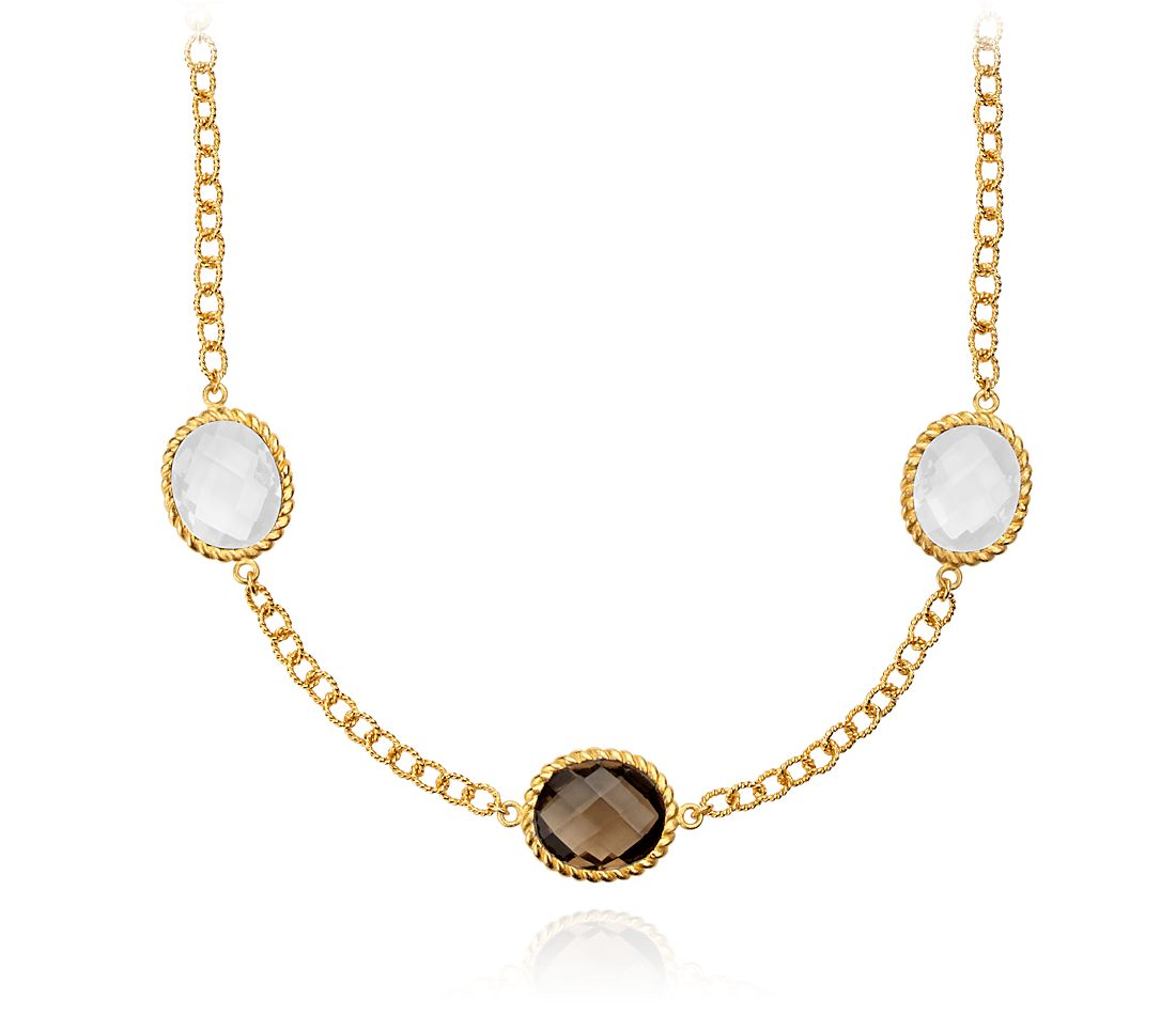 Smoky Quartz and White Agate Necklace in Gold Vermeil