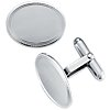 Oval Milgrain Cuff Links in Sterling Silver